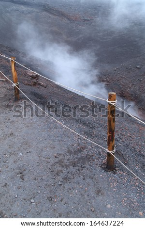 A view of a vucan crater in Etna, Sicily, Italy