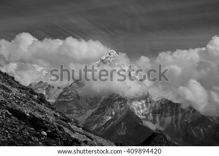 A View of Ama Dablam from Lobuche, Everest Base Camp route trail trekking, Nepal traveling.