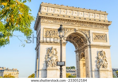 A view of Arc de Triumph, Paris,France - stock photo