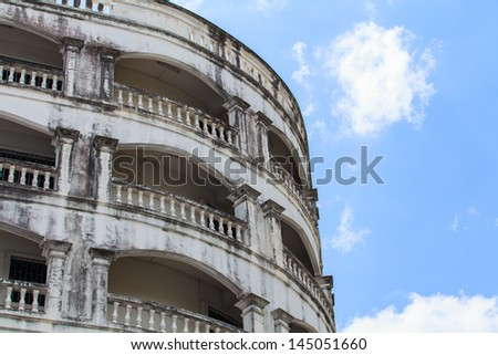A view of bacolny old hotel facade - stock photo