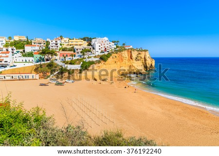 A view of beach in Carvoeiro fishing village, Portugal - stock photo