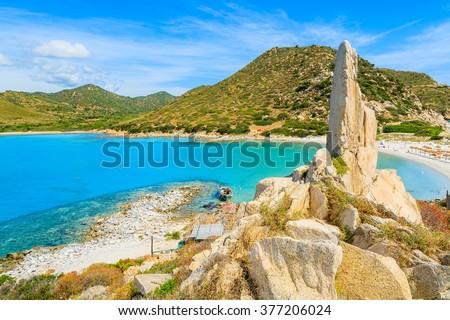 A view of beautiful beach at Punta Molentis bay, Sardinia island, Italy - stock photo