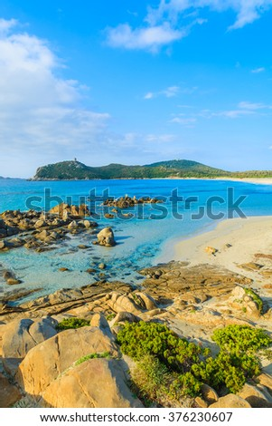A view of beautiful Porto Giunco beach on Sardinia island, Italy