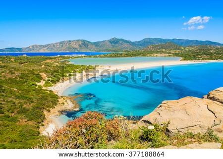 A view of beautiful Villasimius beach on Sardinia island, Italy - stock photo