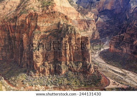 A view of Big Bend from the top of the cliffs of Zion National Park at Scout's Lookout near Angels Landing. - stock photo