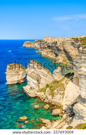 A view of Bonifacio old town built on high cliff above the sea, Corsica island, France - stock photo