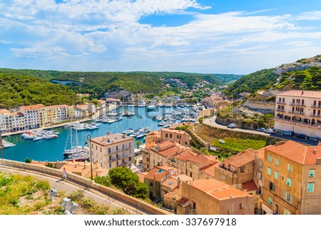 A view of Bonifacio port and old town, Corsica island, France - stock photo