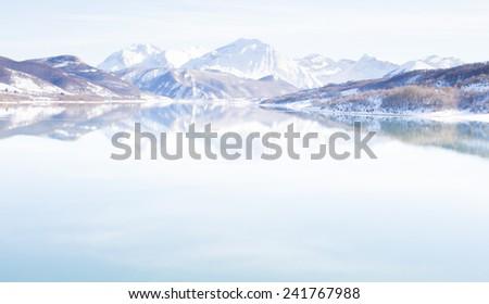 A view of Campotosto lake in winter, abruzzo - Italy. - stock photo