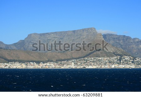 A view of Cape Town and Table Mountain - stock photo