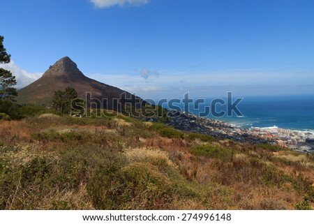 A view of Cape Town with famous Lion's Head - stock photo