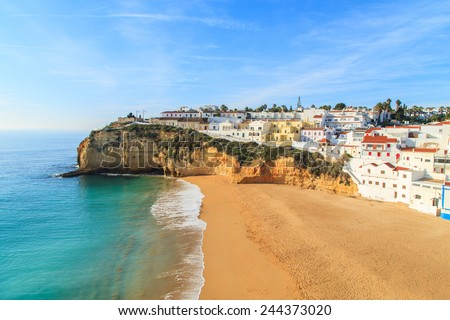 A view of Carvoeiro city in southern Portugal, Europe - stock photo