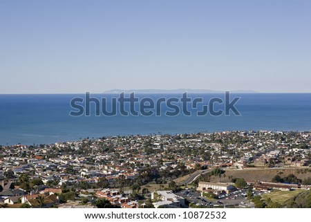 A view of Catalina on a clear day taken from the hills in San Clemente - stock photo