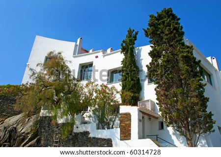 A view of Dali's house in Portlligat, Cadaques, Spain - stock photo