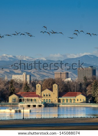 A view of downtown Denver before sunrise. - stock photo