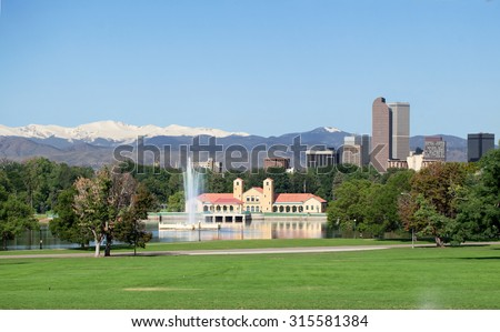 A view of downtown Denver from City Park  - stock photo