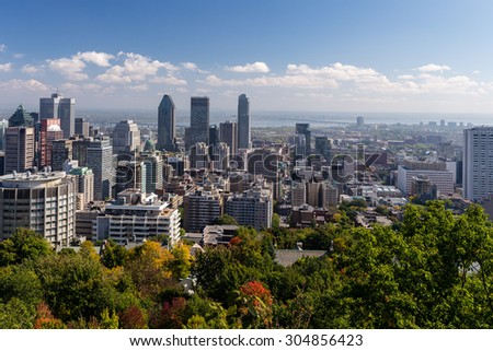 A view of Downtown Montreal, from the Mount Royal lookout, in Montreal, Canada. Photograph shot on September 2014.