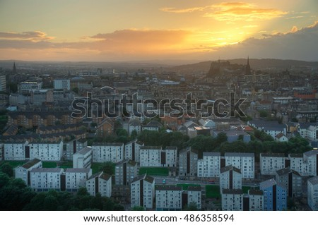 A View of Edinburgh in Scotland During Sunset