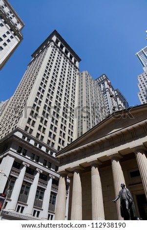A view of financial  buildings around the Wall Street area in New York City - stock photo