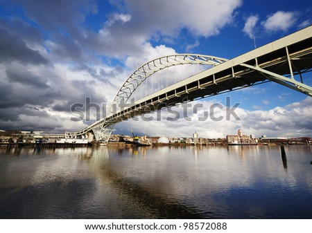 A View Of Fremont Bridge with dramatic Clouds - stock photo