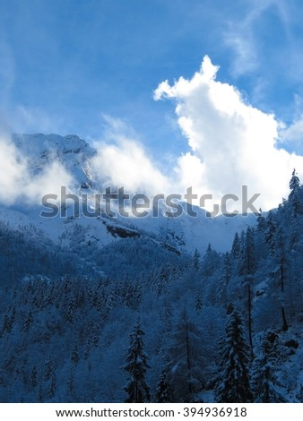 a view of fresh snow on a mountain