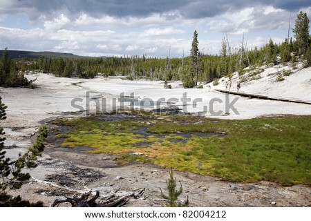 A View of geyser basin in the Yellowstone national park - stock photo