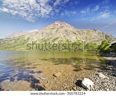 A view of Glacier National Park - stock photo