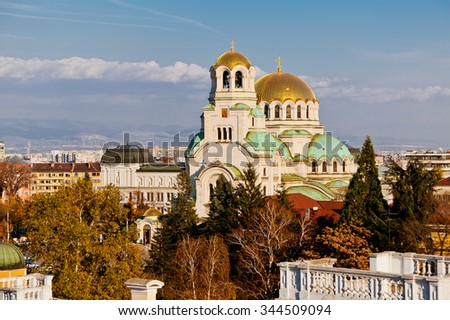 A view of golden domes st. Aleksander Nevski cathedral and downtown Sofia, Bulgaria - stock photo