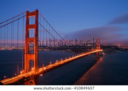 A view of Golden Gate bridge and San Francisco after sunset