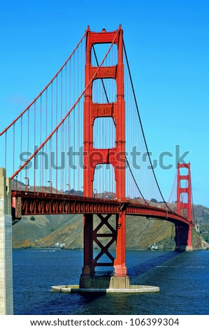 A view of Golden Gate Bridge in San Francisco, United States - stock photo