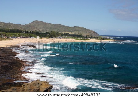 A view of Hawaii beach and sea wave. - stock photo