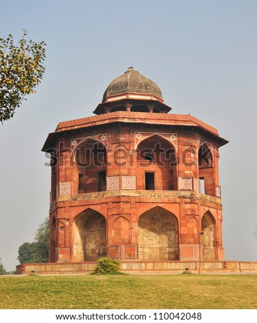 A View of Humayun's Library and Observatory at Purana Qila or Old Fort Delhi. Humayun died in a tragic fall in this building