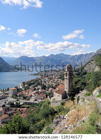 A view of Kotor old town showing the Church of Our Lady of Remedy