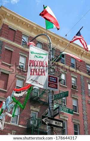 A view of Little Italy flags on Mulberry Street in New York City