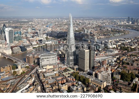 a view of london city skyline from a helicopter  - stock photo
