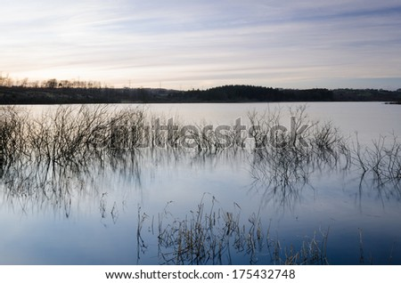A view of Lough Mourne Reservoir, Carrickfergus, County Antrim, Northern Ireland. - stock photo