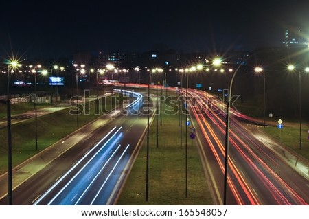 A view of Lublin city night lights