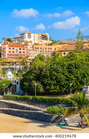A view of luxury hotels on El Duque beach in Costa Adeje holiday resort, Canary Islands, Spain - stock photo