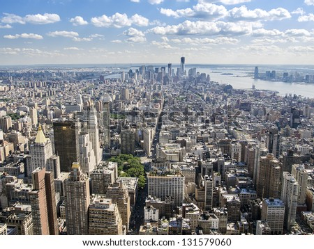 A view of Manhattan from Greenwich Village south to Wall Street as seen from the observation deck of the Empire State Building. - stock photo