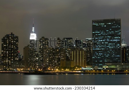 A view of Manhattan island from Long Island City. - stock photo
