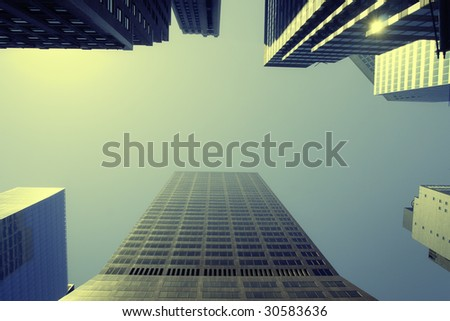 A view of Manhattan skyscrapers - stock photo