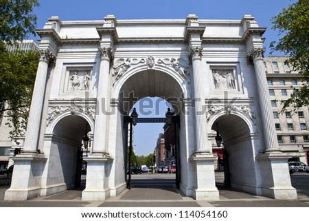 A view of Marble Arch in London. - stock photo