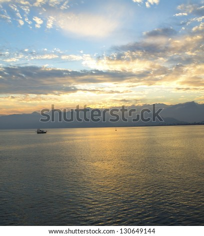 A view of Mediterranean sea from old town, coast of Antalya, Turkey - stock photo
