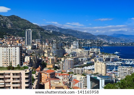 A view of Monte Carlo from the botanical garden. - stock photo