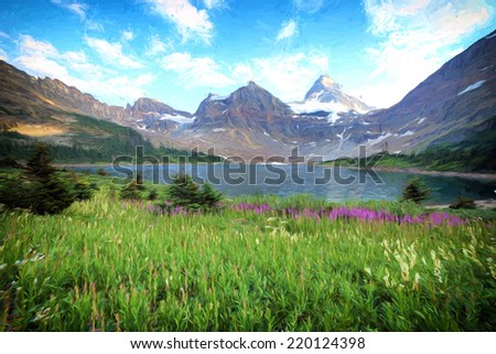 A view of Mount Assiniboine looking across Lake Magog in Mount Assiniboine provincial park British Columbia Canada. Image is rendered as if it was an oil painting. - stock photo