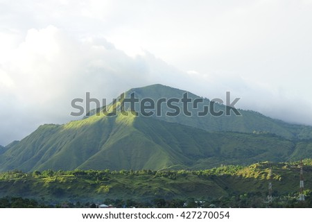 A view of Mount Rinjani, an active Volcano in Lombok, Indonesia.