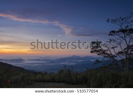 A view of Mount Trusmadi during sunrise at Mamut, Ranau, Sabah, Malaysia
