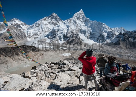 A view of Mt. Everest and Khumbu Glacier from the Kala Patthar summit, Nepal. - stock photo