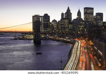 A view of New York skyline from Manhattan bridge.