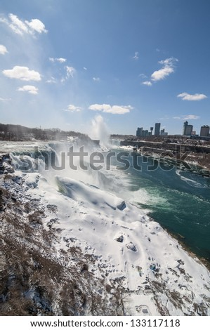 A View of Niagara Falls in the Winter - stock photo
