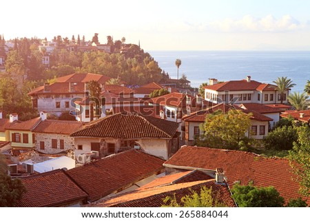 A view of Old town Kaleici in Antalya, Turkey - stock photo